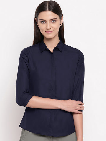 Hancock Women Navy Pure Cotton Solid Slim Fit Formal Shirt