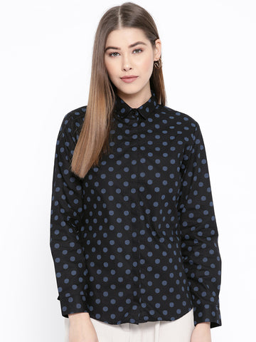 Hancock Women Black & Blue Pure Cotton Printed Slim Fit Formal Shirt