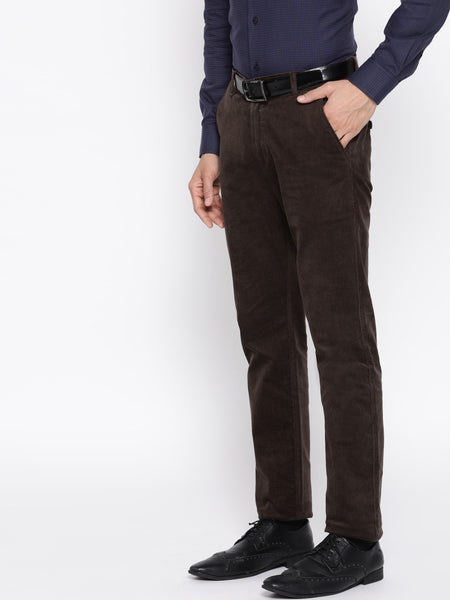 Hancock Men Brown Solid Cotton Stretch Slim Fit Formal Trouser