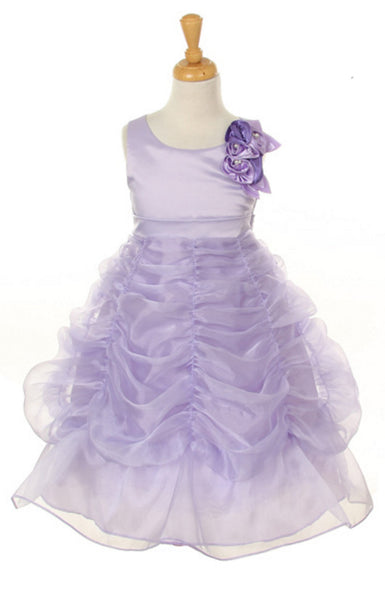 Bridal Satin Organza Bubble Dress in lavendar