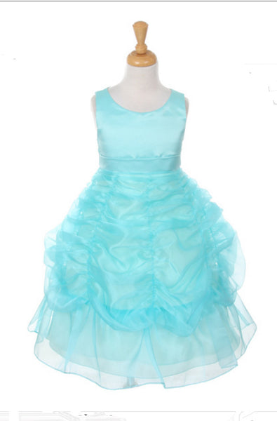 Bridal Satin Organza Bubble Dress in Turquoise