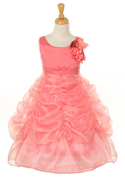 Bridal Satin Organza Bubble Dress in coral colour