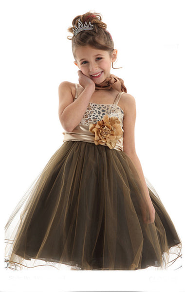Leopard sequin wire mesh dress for girls