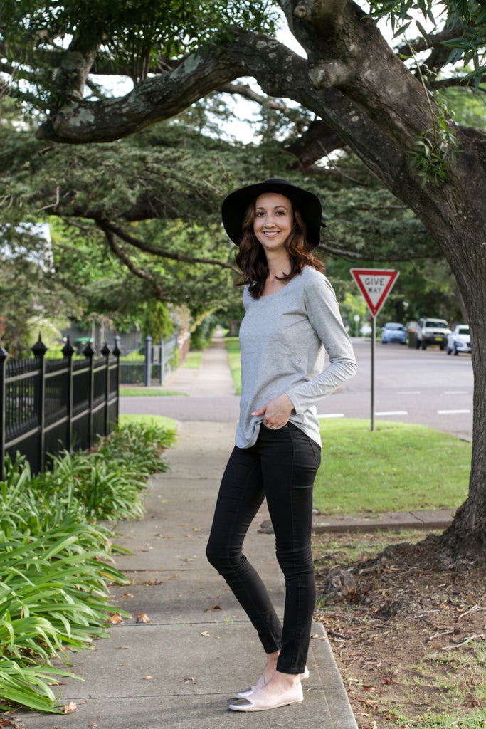 Grey breastfeeding long sleeve top with invisible zips designed for nursing mums.