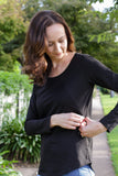 Black breastfeeding long sleeve top with invisible zips designed for nursing mums.