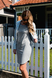 Light grey breastfeeding t-shirt dress with invisible zips designed for nursing mums.