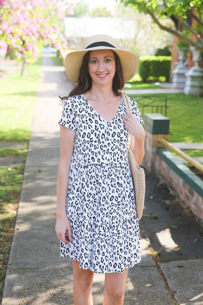 Leopard print breastfeeding dress