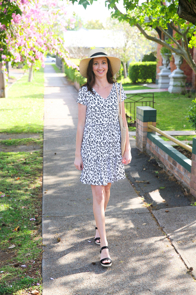 Nursing dress featuring a leopard print