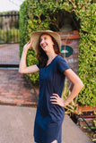 Navy breastfeeding t-shirt dress with invisible zips designed for nursing mums.