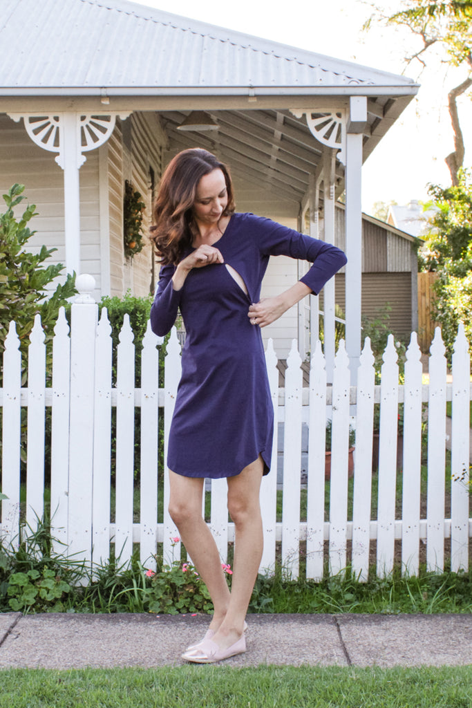 Long sleeve breastfeeding dress with invisible zips designed for nursing mums.
