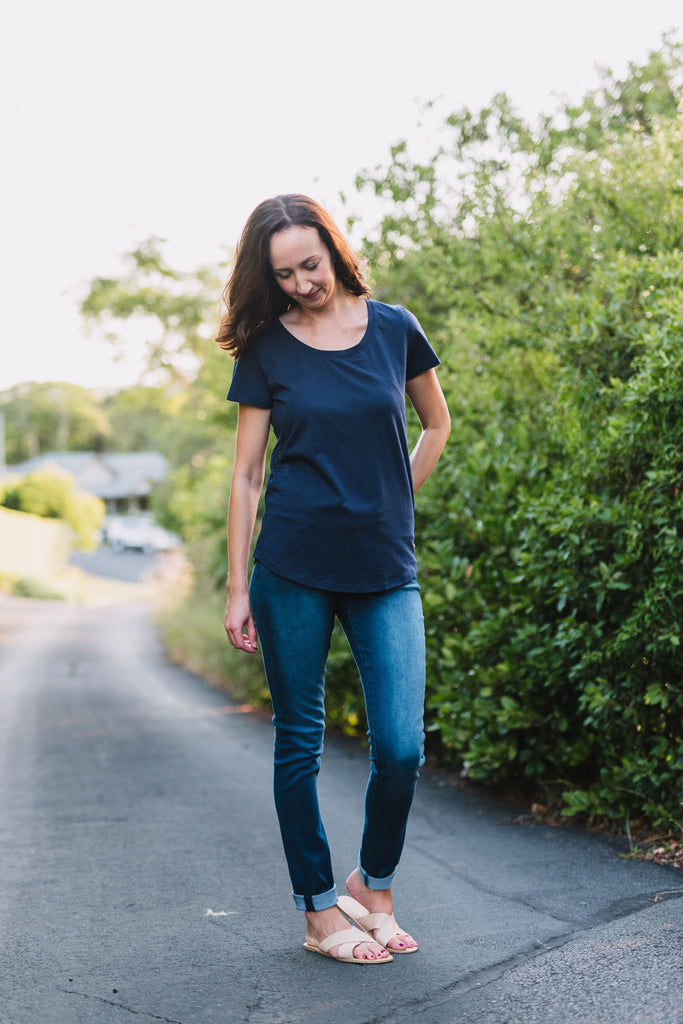 Navy breastfeeding friendly t-shirt with invisible zips designed for nursing mums.