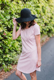 Blush pink breastfeeding t-shirt dress with invisible zips designed for nursing mums.