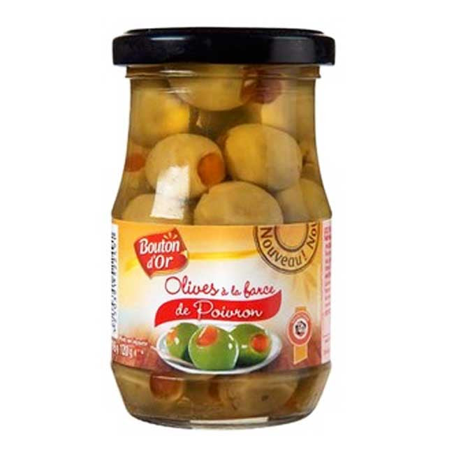 Bouton D'Or Green Olives Stuffed With Peppers - TheLittleMart.com