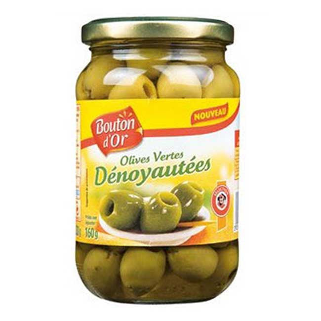 Bouton D'Or green pitted olives