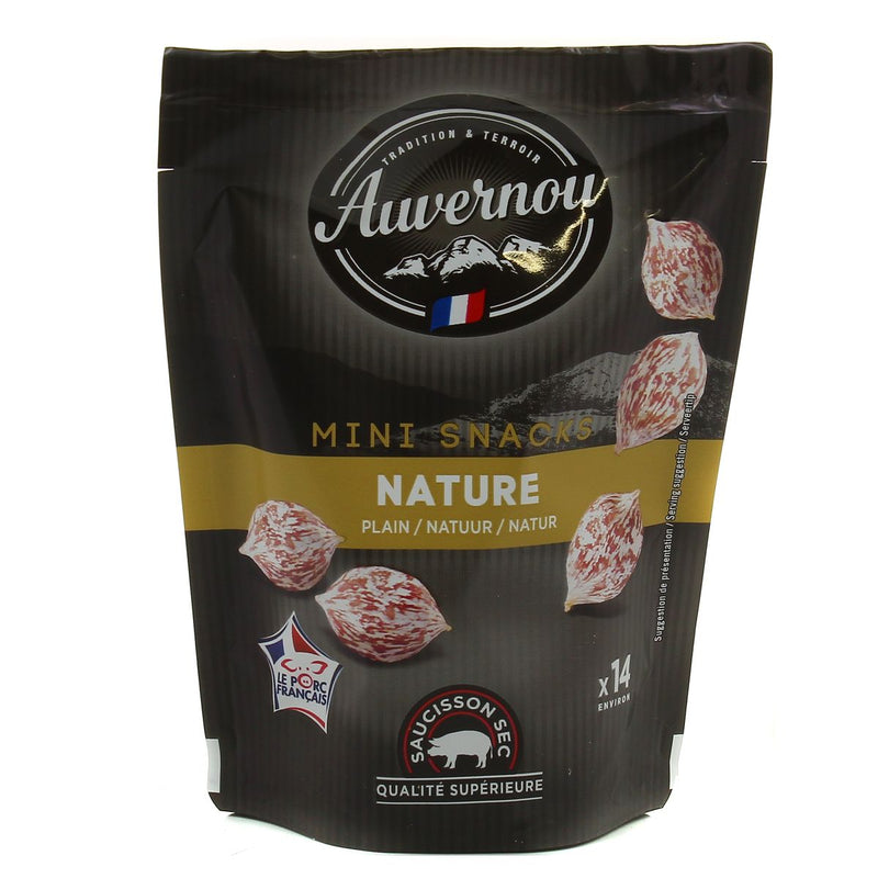 Mini Snacks Saucissons Secs nature / Plain mini dry saussages AUVERNOU (NON HALAL)