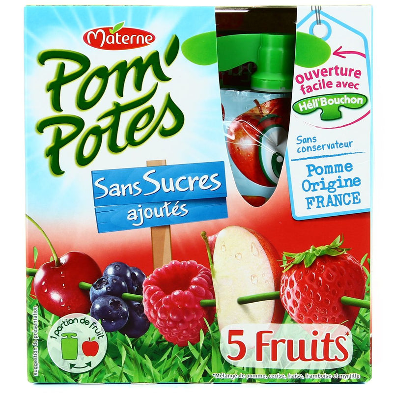 MATERNE Pom'Potes 5 Red Fruits Pocket-No added sugar - TheLittleMart.com