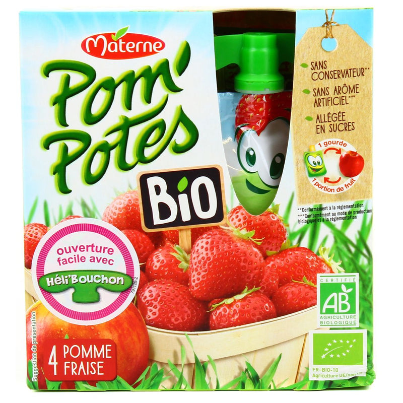 MATERNE Pom'Potes Pomme  / Fraise Bio /  Organic Apple Strawberry Pocket - TheLittleMart.com