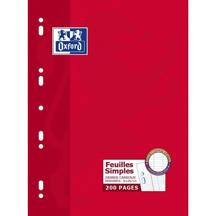 OXFORD  A4 Single sheet, SEYES/ feuilles simples grands carreaux