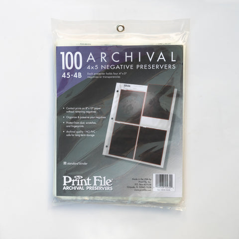 Print File Negative Sleeves 4x5 - 100 Pack