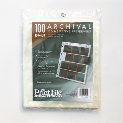 Print File Negative Sleeves 120mm - 100 Pack