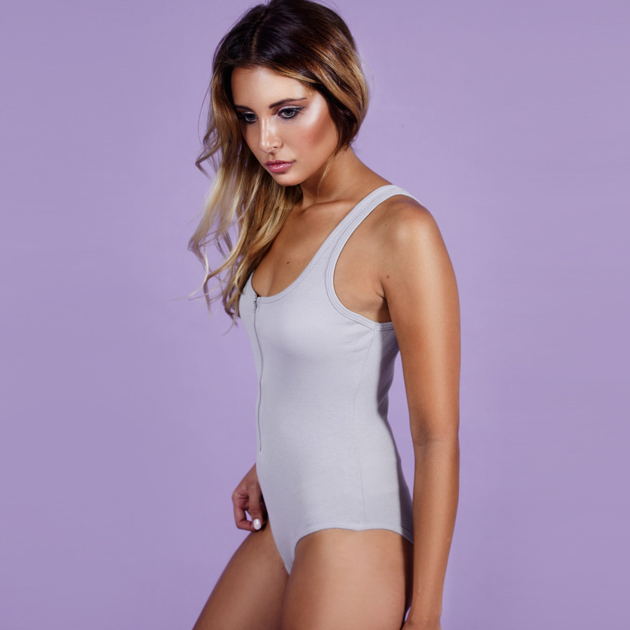 'Gigi' Bodysuit Zipper Grey