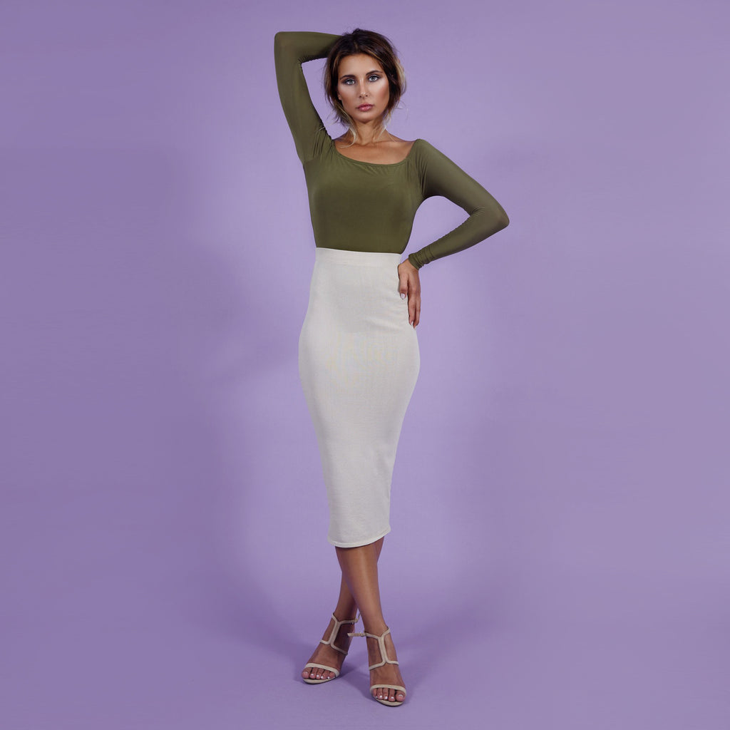 'Kate' Bodysuit Strapless Khaki