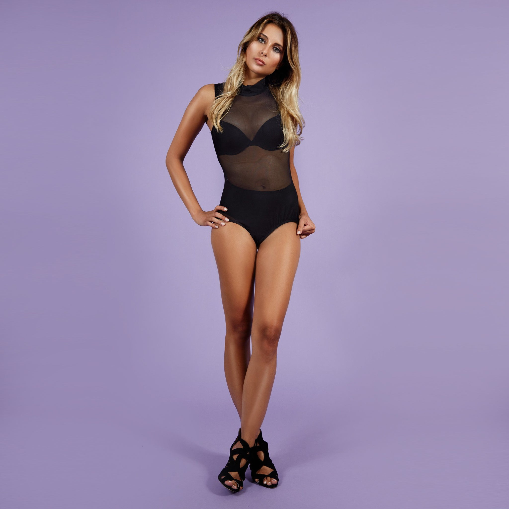 'Kimberly' Bodysuit Mesh Black