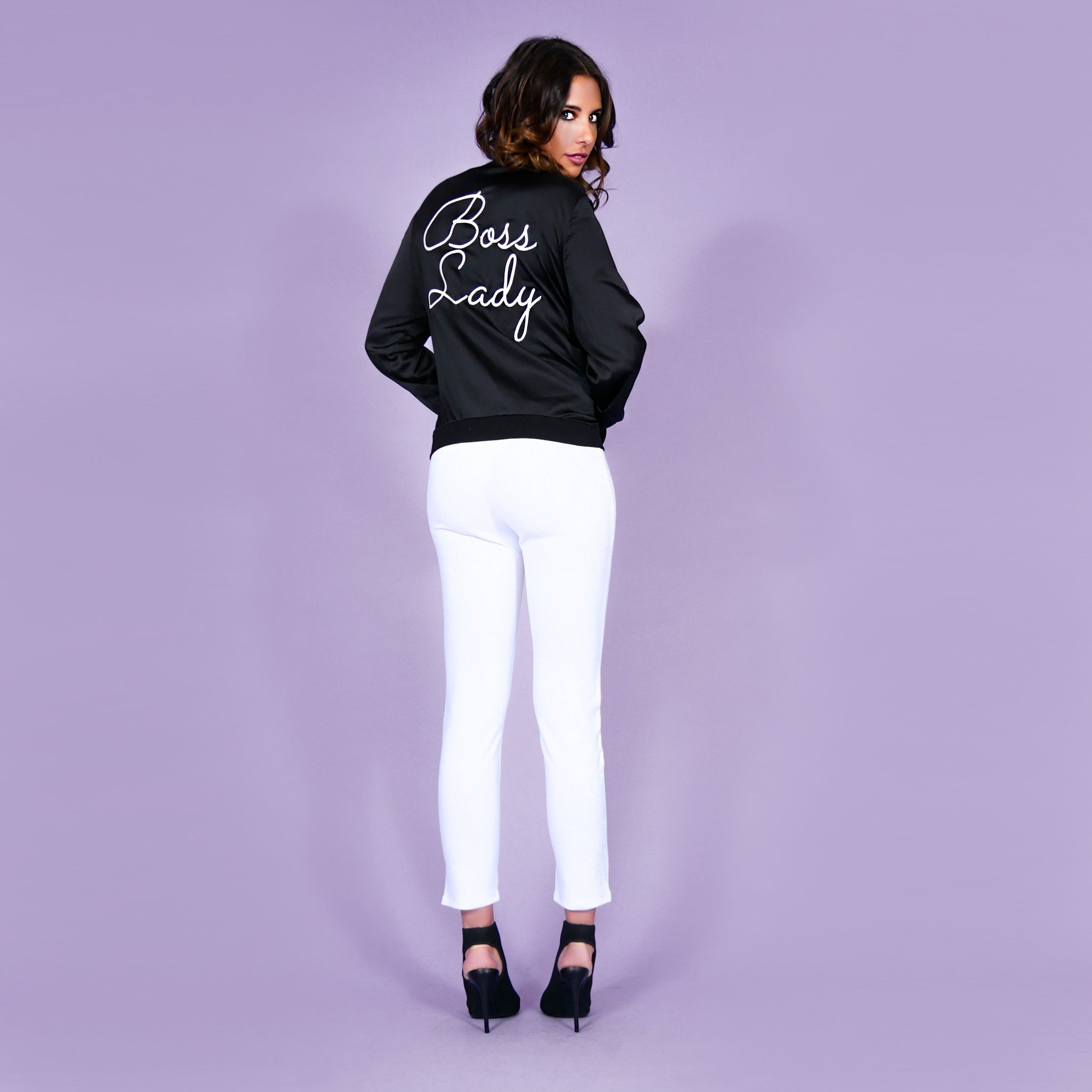 'Boss Lady' Satin Bomber Jacket Black