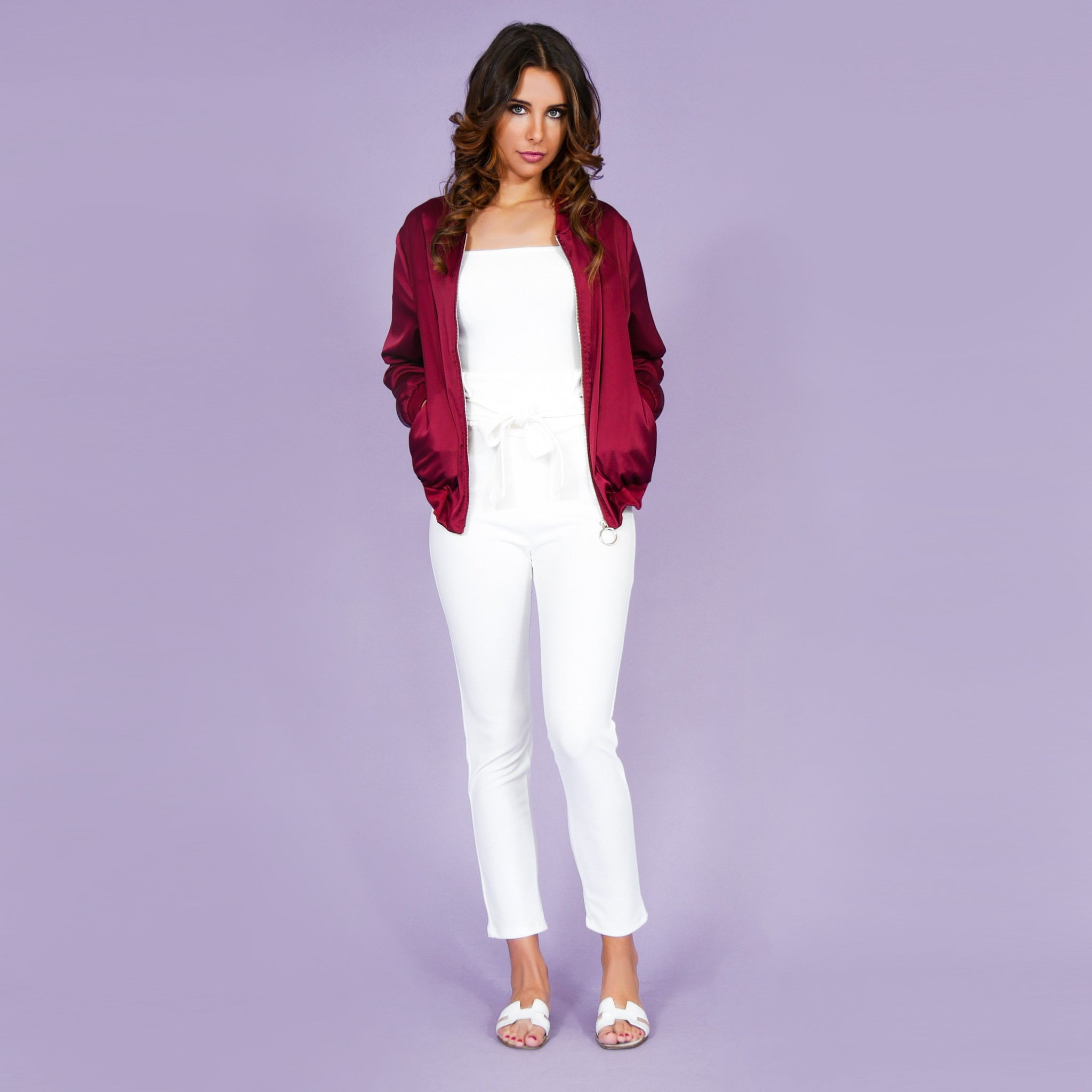 'Boss Lady' Satin Bomber Jacket Red