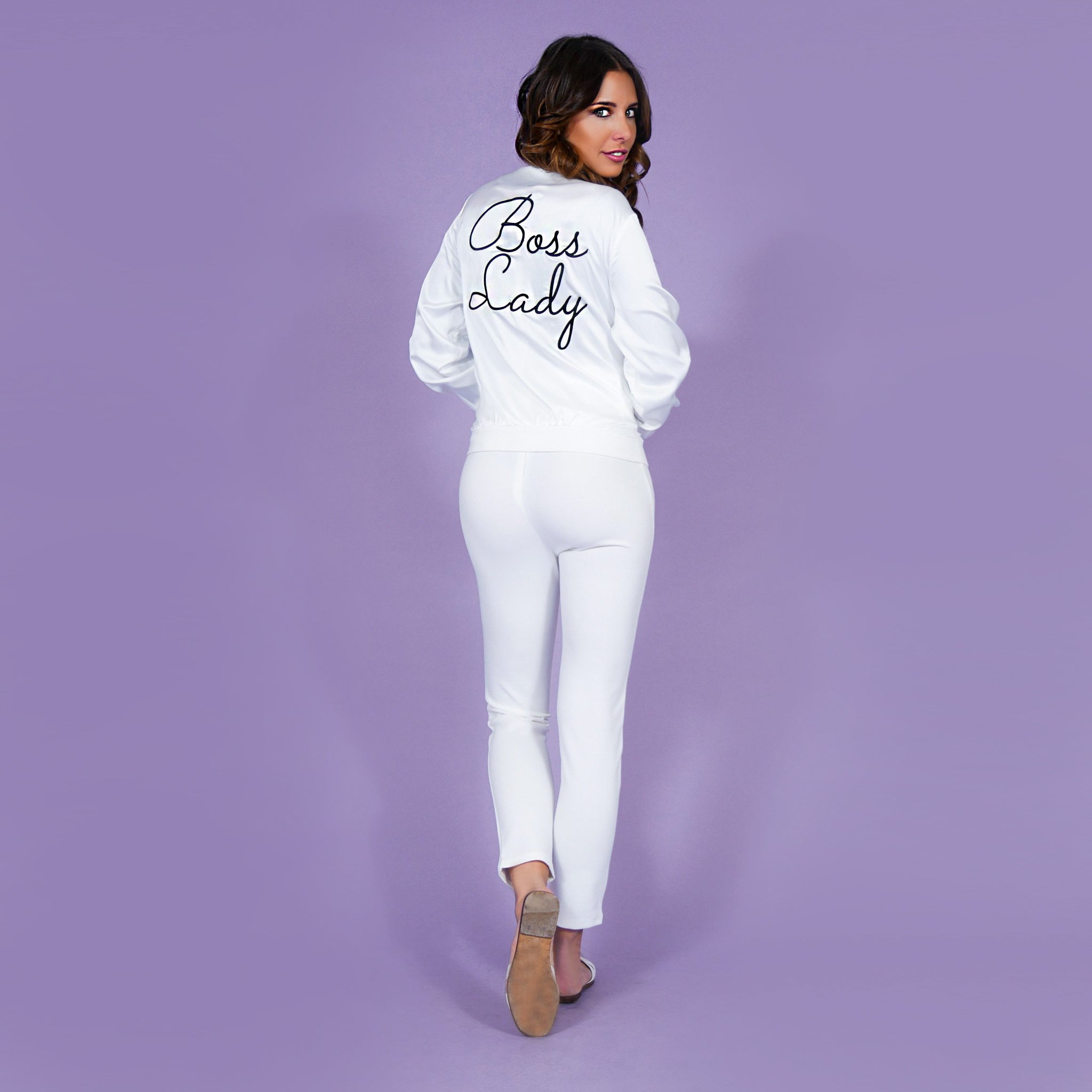 'Boss Lady' Satin Bomber Jacket White