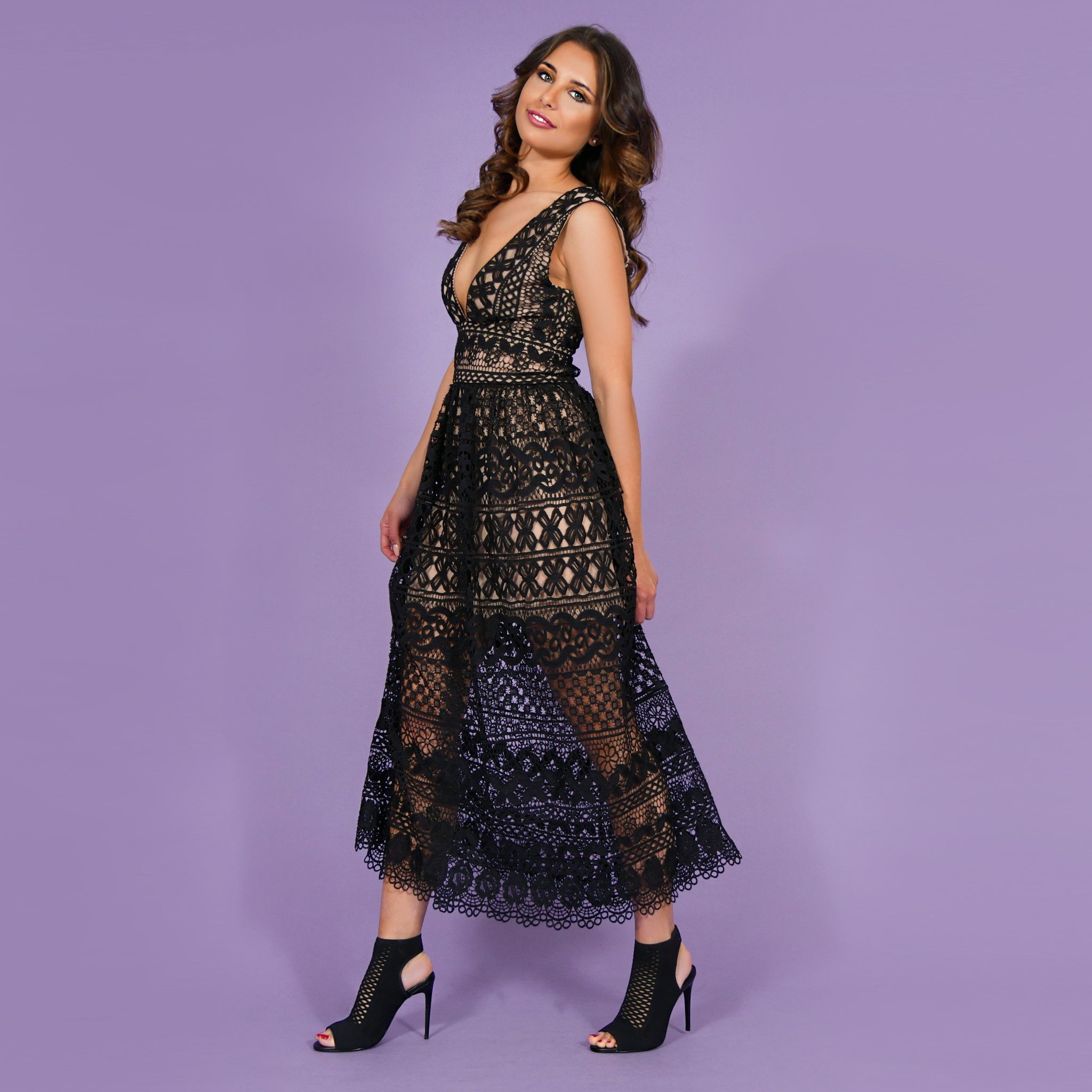 'Elisabetta' Lace Dress Black