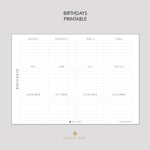 Birthdays Printable