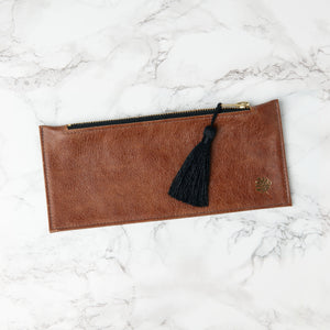 Luxury Leather Tassel Pencil Case