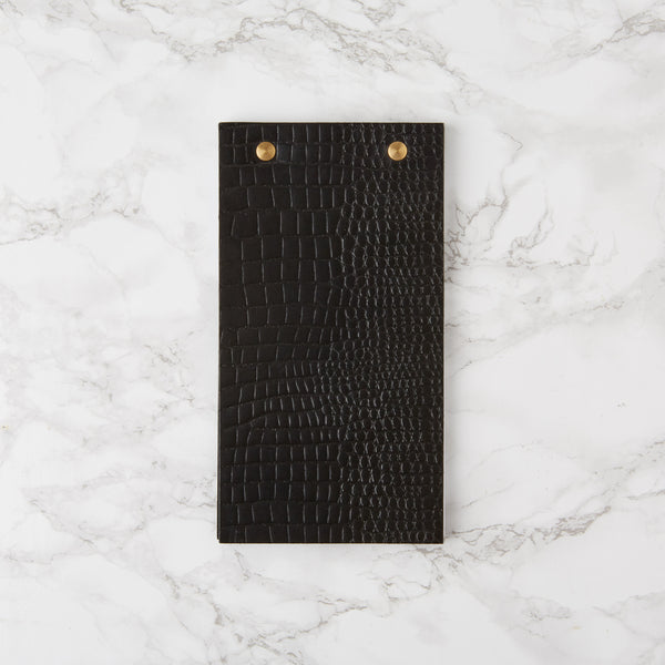Leather Desk Notepad - Black Croc