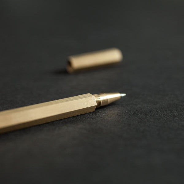 Close Up Hexagon Brass Pen