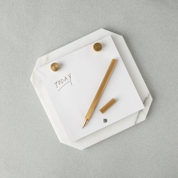 Desk Notepad - Carrara Marble: White