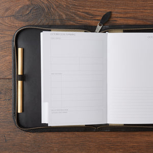 Debonaire Noir Leather Planner Zip Case