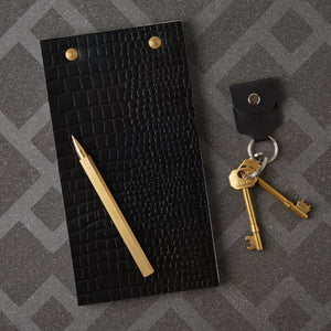 Debonaire Leather Desk Notepad - Black Croc