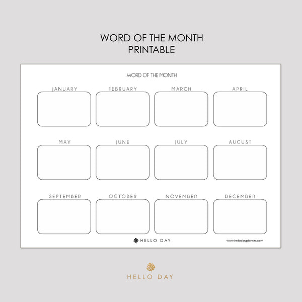 Word of the Month Printable