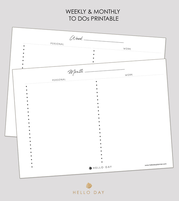 Weekly & Monthly To Dos Printable