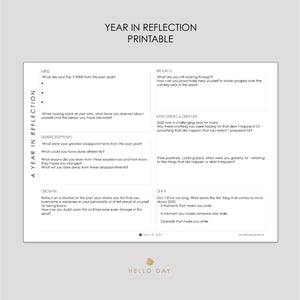 A Year in Reflection Printable