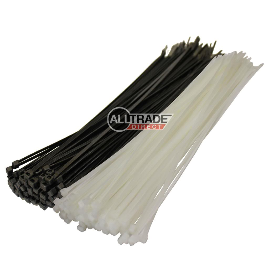 300mm black and white cable ties