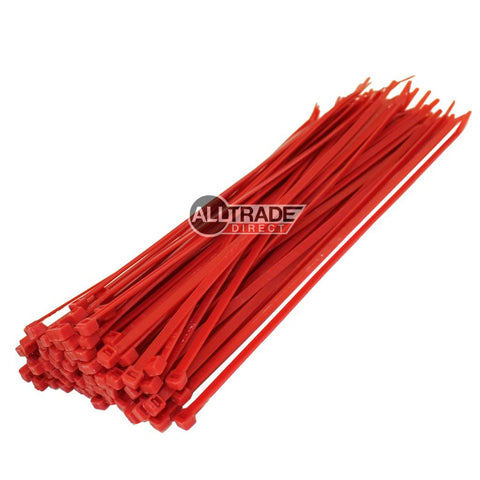 300mm red cable ties
