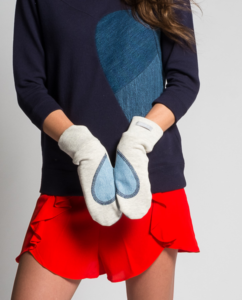 Angele Mitts in Off-White & Denim