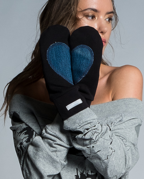 Angele Mitts in Black & Denim
