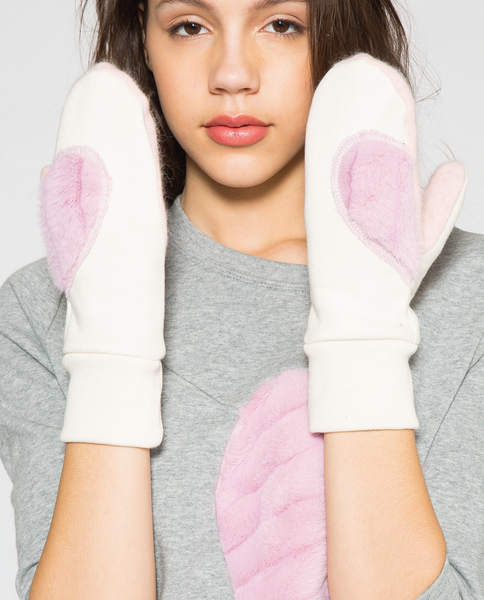 Angele Mitts in Off-White with Deadstock Faux Fur