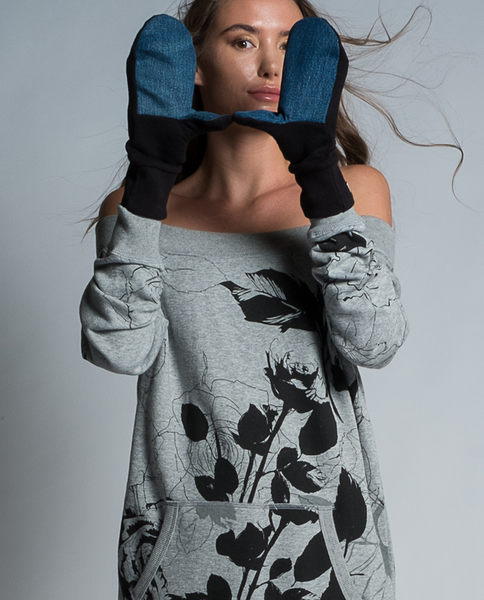 Angele Mitts in Black & Recycled Denim
