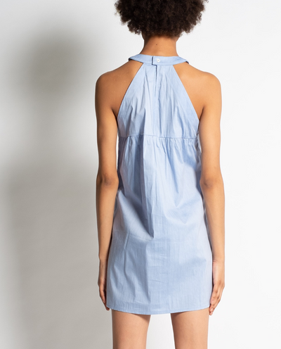 Ava Dress in Blue with Dress Shirt