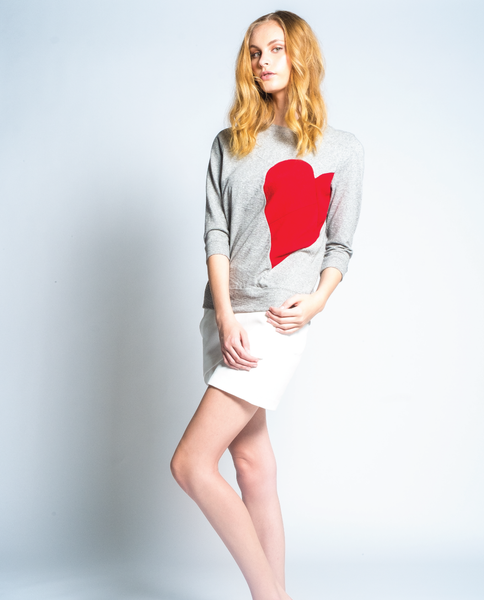 Broken Hearted Sweatshirt in Grey Mix