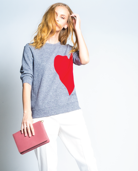Broken Hearted Sweatshirt in Navy Heather